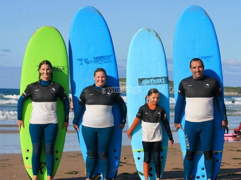 With surfboards