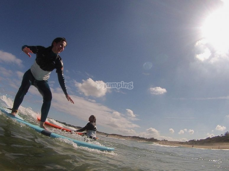 Above the surfboard