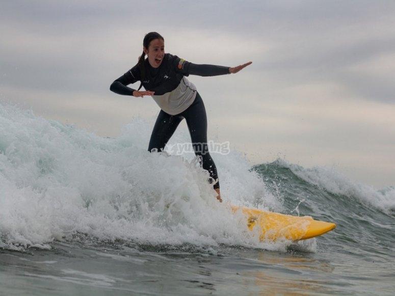 Surfing at Somo Beach
