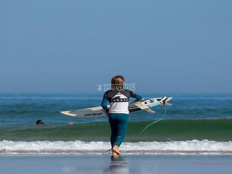 Child surfer in Somo Beach
