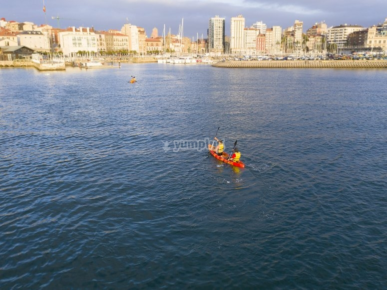 In front of Gijón's coast on the kayak