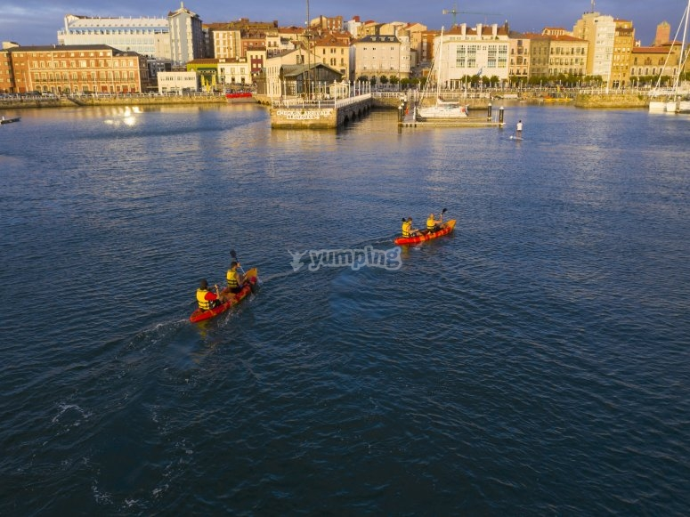 In front of Gijón with the kayaks