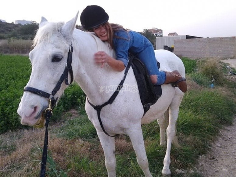With the horse