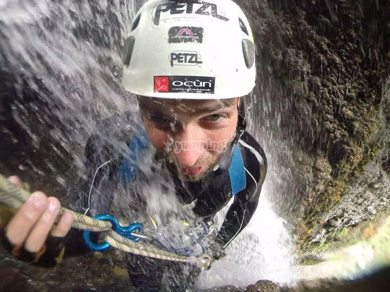 Rapelling with waterfalls