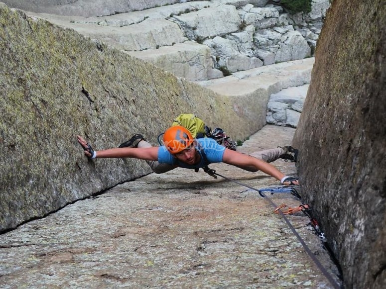 Practicing rock climbing