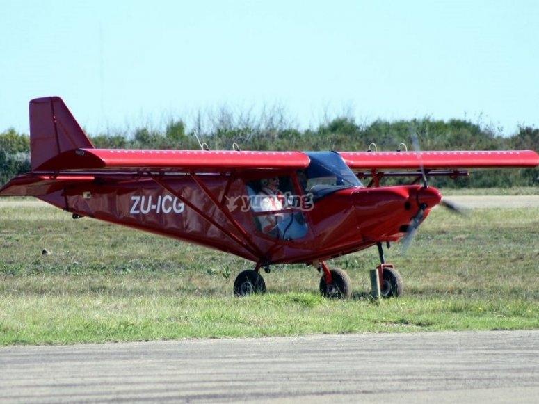 The light aircraft at the aerodrome