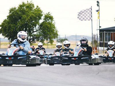 Karting race with podium and cider in Chinchilla