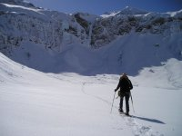 Towards the top with snowshoes