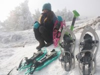 Sitting with the snowshoe material