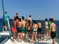 Team building activity in a catamaran