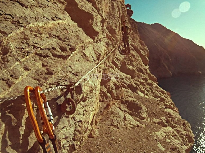 Subject to the lifeline in the ferrata