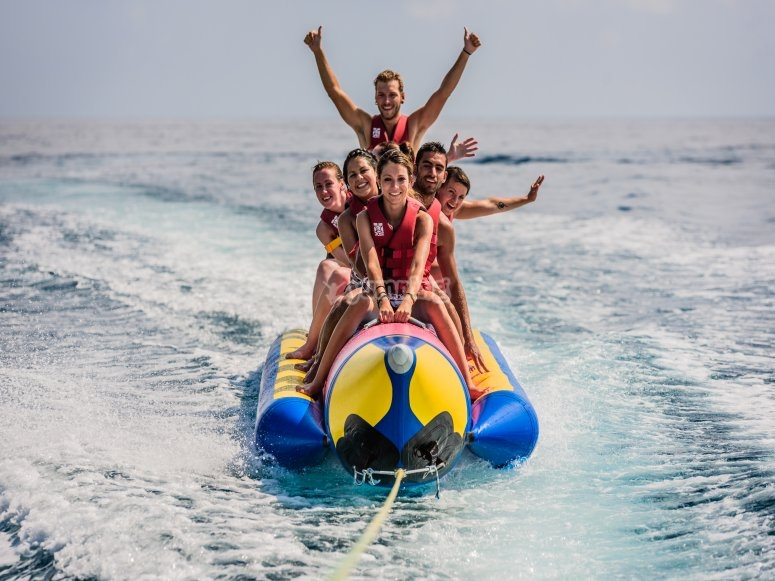 Saludando desde la banana boat