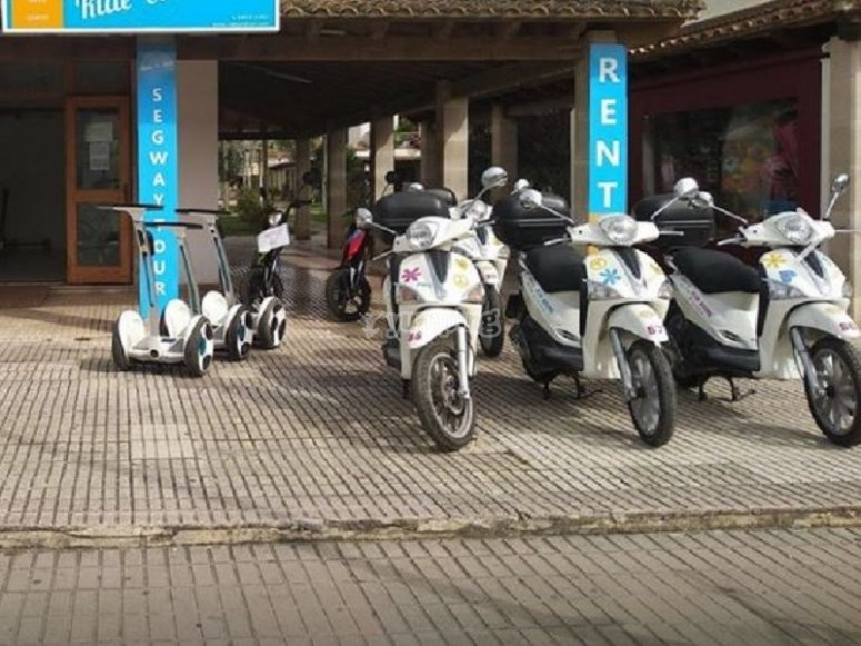 Our scooter bikes parked
