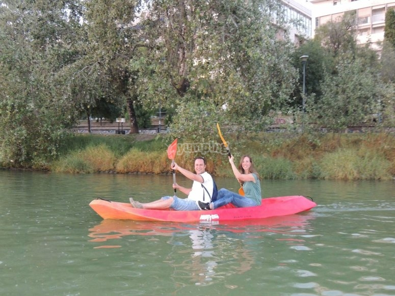 Tandem kayak in the Guadalquivir