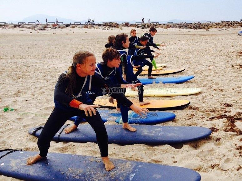 Practicando en la arena de la playa