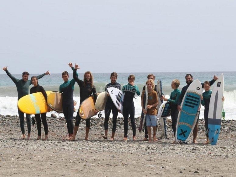 El equipo de surfeo