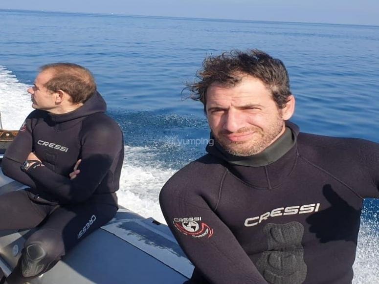 Desde el barco antes de la inmersión