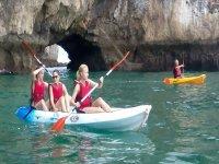 Friends aboard the kayak