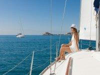 管理旅行的帆船方向舵