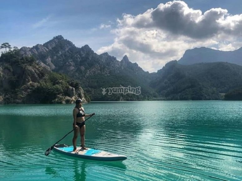 On the paddle surf board