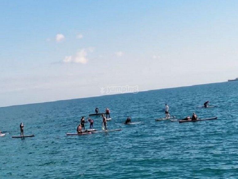 Deportistas haciendo paddle surf
