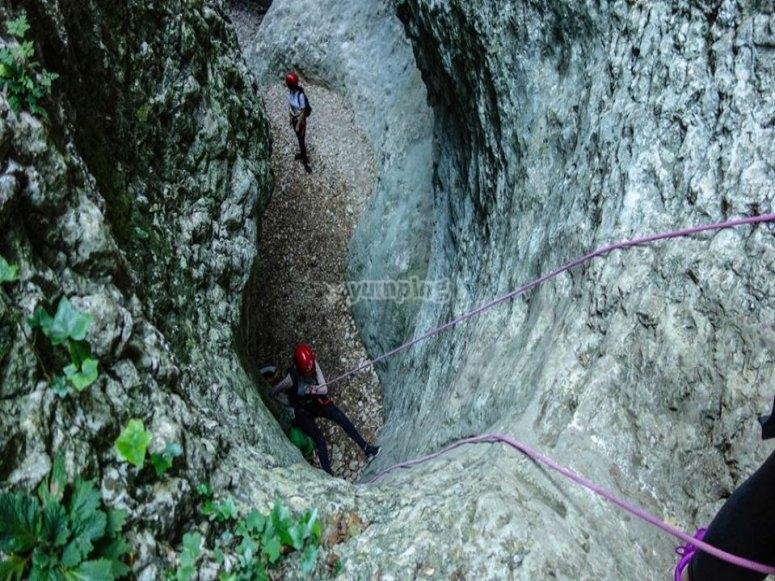 Descending the ravine