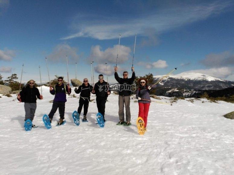With snowshoes in Puerto de Navacerrada