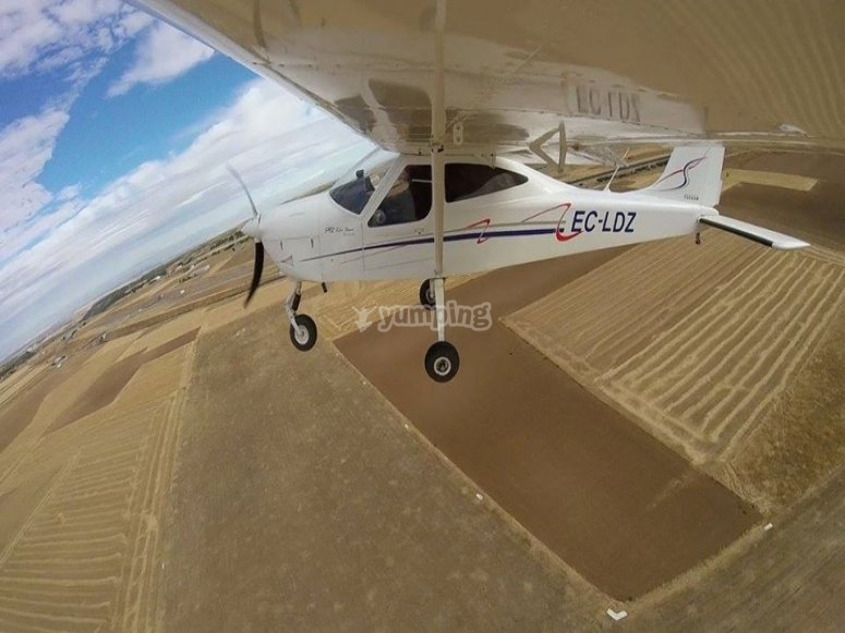 Ultralight flight over La Mancha