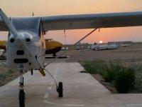 Ultralight at sunset at the aerodrome