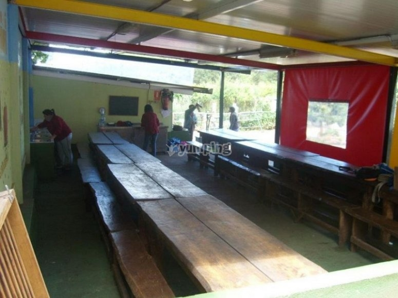 Dining room with door to the field