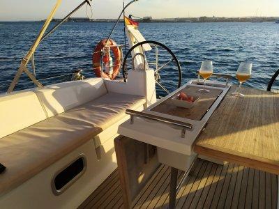 Weekend sailboat sailing in Tabarca island