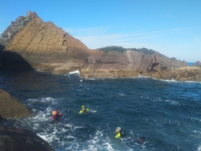 Swimming on the coast