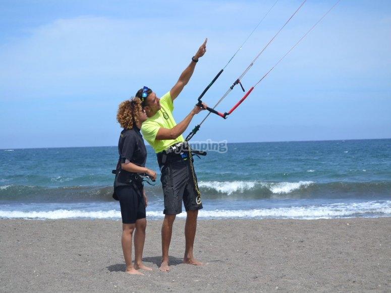 Manejando el kite