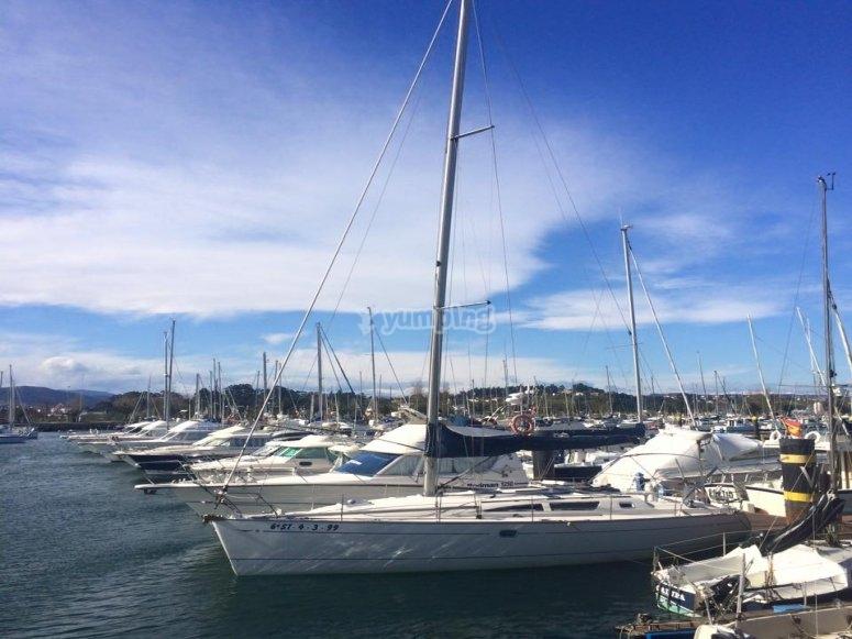 Fleet of boats in the port of Santander