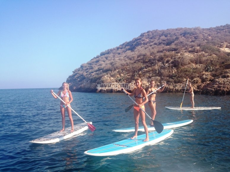 Paddling on the SUP boards in Mazarrón