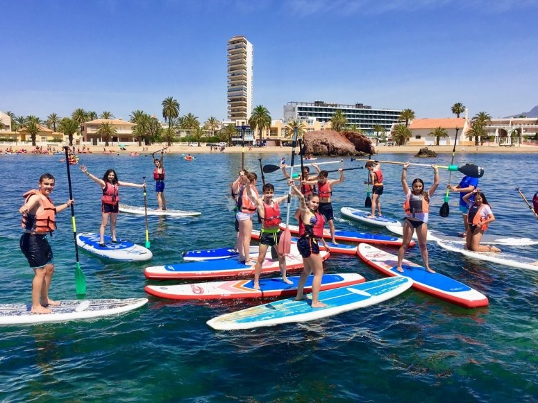 In Mazarrón practicing paddle surf