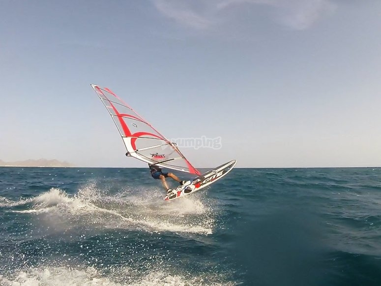 First steps in windsurfing