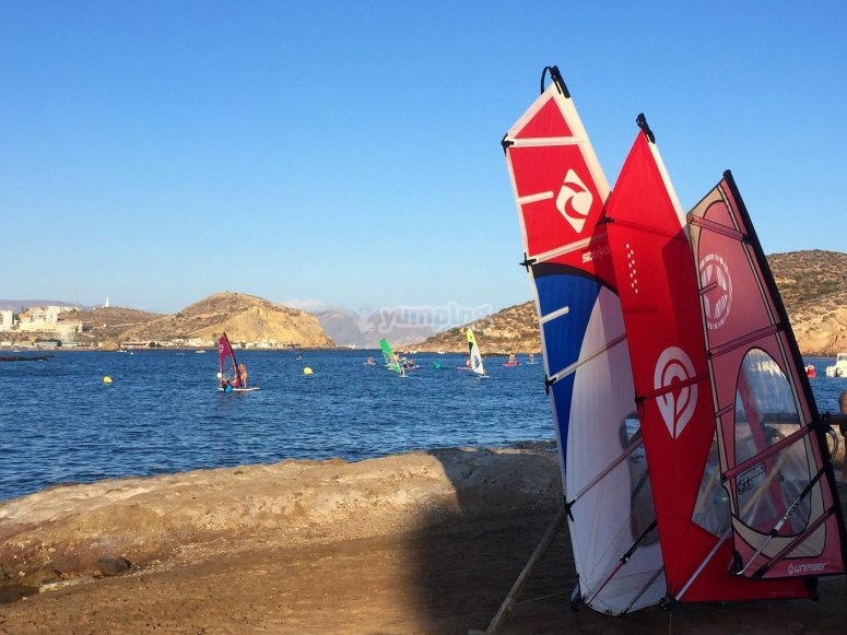 Complete windsurfing equipment during the course