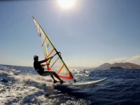 Practicing windsurfing on the Mazarrón coast