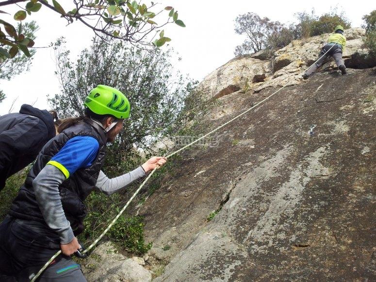 Sport climbing in rock