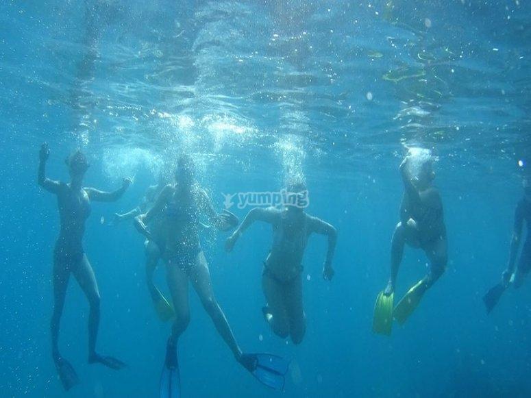 Bajo el agua con el equipo de snorkel