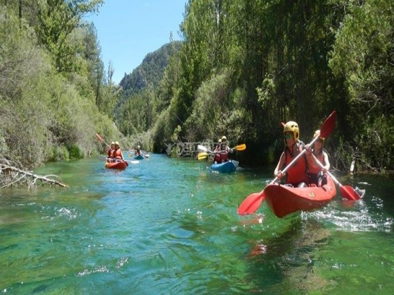 Paddling in the canoes