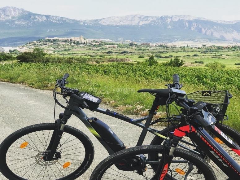 Paisaje de La Rioja en bicicletas de montaña eléctricas