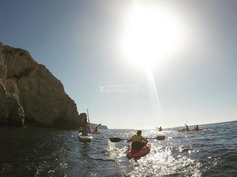 Ruta guiada en kayaks en La Herradura