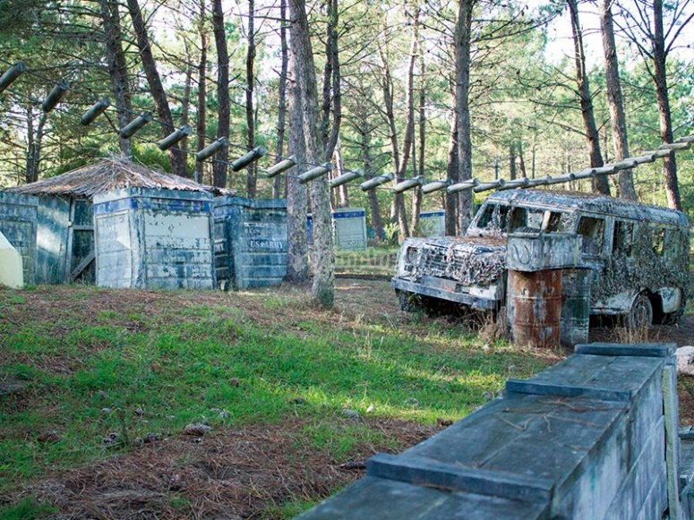 Military camp for the paintball battle