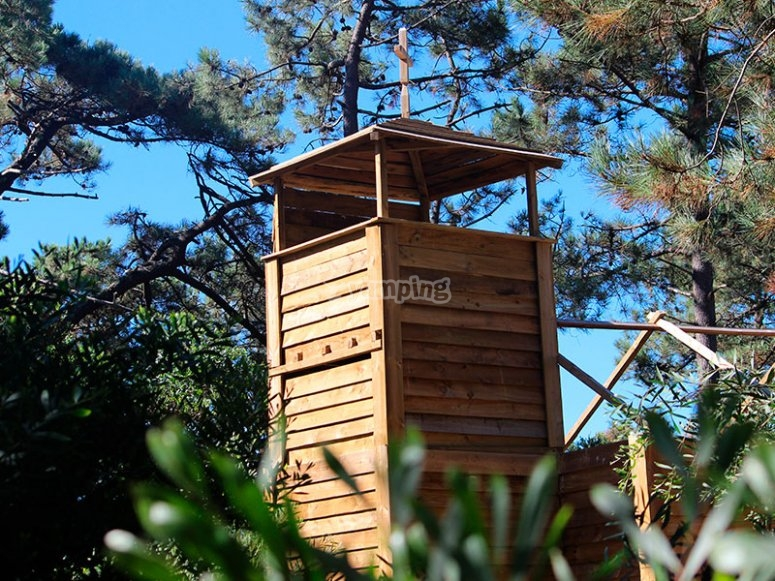 Watchtower in the paintball field
