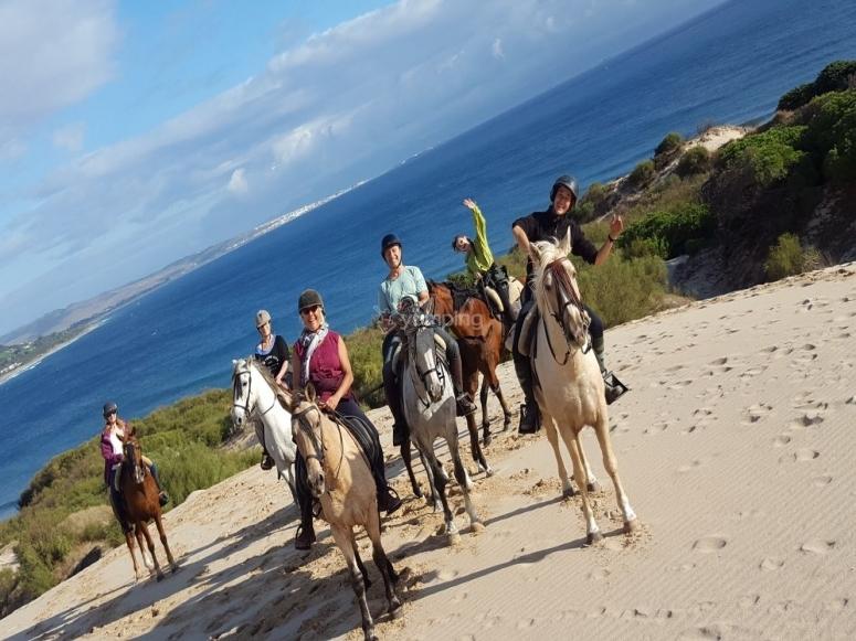 在博洛尼亚海滩骑马