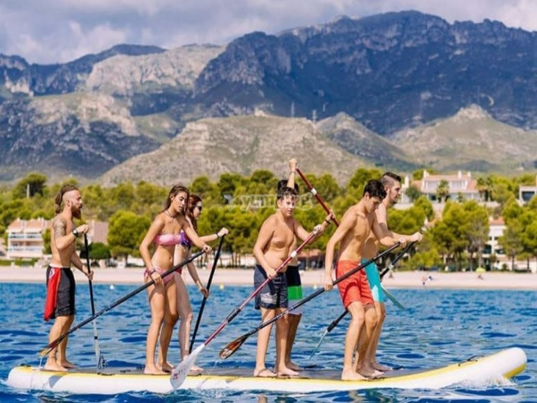 Paddling in unison in the Big SUP