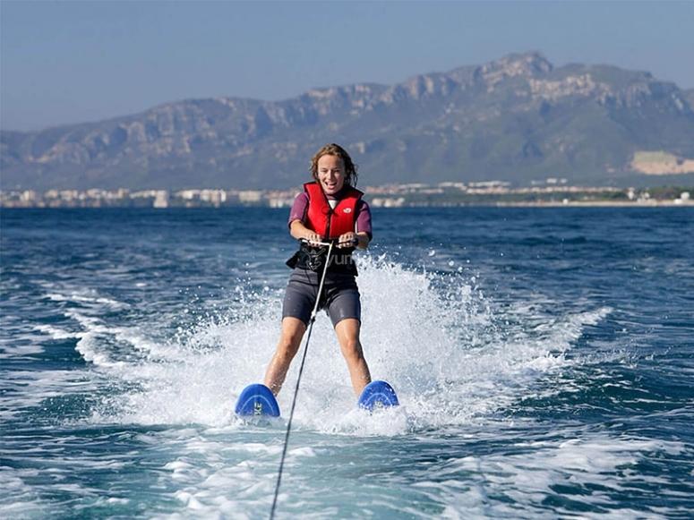 Practicing wakeboarding on the Costa Dorada