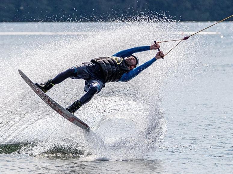 Testing the wakeboarding in Salou